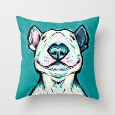 Smiling Bull Terrier Throw Pillow by Cartoon Your Memories - $20.00