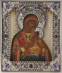 A RUSSIAN OLD BELIEVERS ICON OF THE O ALL-HYMNED MOTHER, FROLOV WORKSHOP, CIRCA 1890. Sold for $28,000