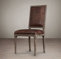 Vintage French Square Leather Side Chair30m leather options 5 wood finishes $449 French Dining Chairs