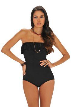 4a65369c6a58a Elegante Vestidos de baño negro para los días de verano.