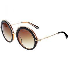 1ea3deecbed6 Miu Miu Round Embellished Brown Frame Sunglasses 308436