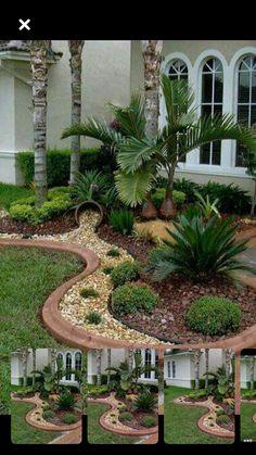 Front Yard Garden Design, Front Garden Landscape, Small Front Yard Landscaping, Rock Garden Design, Garden Yard Ideas, Backyard Garden Design, House Landscape, Outdoor Landscaping, Outdoor Gardens
