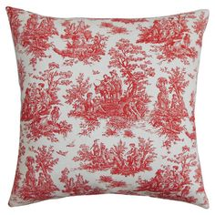 Taking inspiration from the timeless textile, this cotton pillow showcases a toile motif in lipstick red.    Product: Pillow