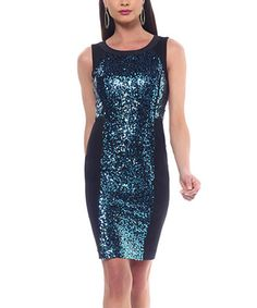 Loving this Blue Sequin Sheath Dress on #zulily! #zulilyfinds