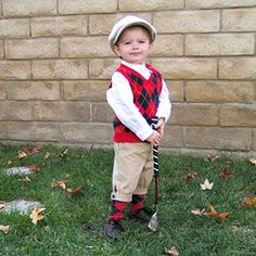Tiny Golf Pro!!  This could also be a very cute costume tribute to Payne Stewart........local Ozarks golfing legend that passed in a plane crash October 25 1999.