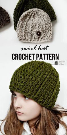 Crochet Beanie Pattern - Swirl Hat by Rescued Paw Designs