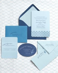 This whole blue themed wedding is fabulous... lots of ideas here :) :) blue invit, idea, color blue, wedding blue, blue note, wedding colors, blue weddings, blues, wedding color palettes