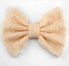Cream sequin bow sequin messy bow headband by LillyBelleMarket