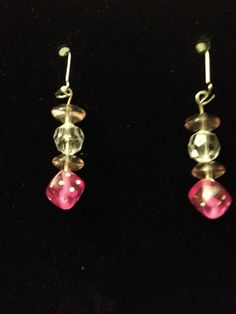 Pink and White Dice Earrings by queenofqeeks on Etsy, $8.00