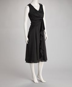 Take a look at this Black Wrap Dress by Ellen Tracy on #zulily today! Needs sleeves