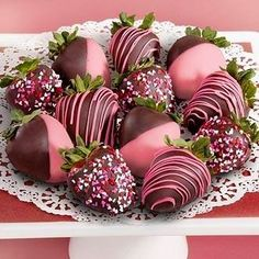 Pink Chocolate Covered Strawberries n Chocolate!