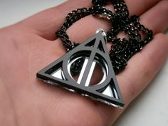 Harry Potter Necklace , Laser Cut Black Acrylic and Mirror Plastic Deathly Hallows Necklace-  sale 10 % via Etsy