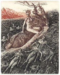 Kidnape of Europe. Antonello Turla. 1999. Etching C3C4. 13x10 cm (5,2x4 in). Ex libris by Marius Liugaila