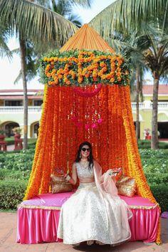 Serene Goa Wedding with Dreamy Decor & the Couple in Stylish Outfits Indian Wedding Theme, Goa Wedding, Desi Wedding Decor, Wedding Stage Decorations, Wedding Mandap, Wedding Cars, Indian Bridal, Haldi Ceremony, Wedding Photo Props