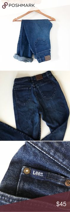 """Lee Vintage High Waisted Tapered 80s 90s Mom Jeans Dark blue wash vintage 80s 90s Lee high waisted tapered mom jeans. Roll up the cuffs for a super cute on trend look!  • Very good condition • Cotton spandex blend, but very little stretch • Tagged as a women's size 10, but  runs smaller due to vintage condition—Please check measurements to ensure a correct fit • Zip and button fly, leather back Lee patch • Approximate measurements when laid flat: 28"""" waist, 11.5"""" rise, 31"""" inseam Lee Jeans"""