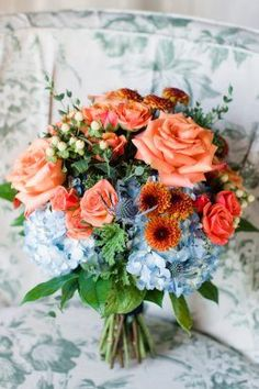 coral rose and blue hydrangea bouquet from Fall wedding at Marylands Sotterley Plantation by Birds of a Feather Photography fall wedding styles / rustic october wedding / fall wedding stuff / fall wedding autumn / wedding ideas fall november Wedding Flower Guide, Modern Wedding Flowers, Prom Flowers, Blue Hydrangea Wedding, Hydrangea Bouquet Wedding, Wedding Bouquets, Coral Fall Wedding, Apricot Wedding, Autumn Wedding