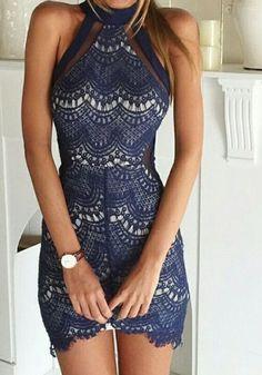 Blue Patchwork Lace Grenadine Irregular Band Collar Mini Dress