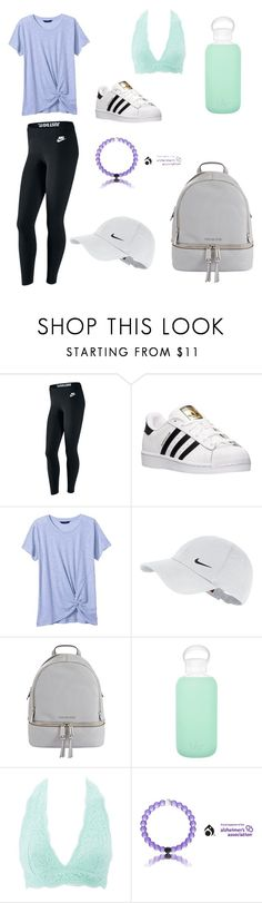 """""""Sporty casual"""" by sophiaconant ❤ liked on Polyvore featuring NIKE, adidas, Banana Republic, MICHAEL Michael Kors, bkr and Charlotte Russe"""