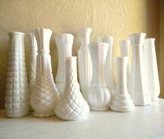 Very Unique Collection of White Milk Glass Vases - ShabbyNChic