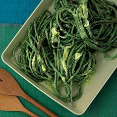 Roasted Long Beans with Herb Butter.
