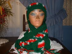 Crocheted Red/White/Green  Women Accessorie Scarf & Benie Hat Set NEW Handmade  #Handmade #LongScarfHatBenie