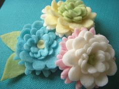 Fleece Flowers. Would be so cute on a fleece hat.