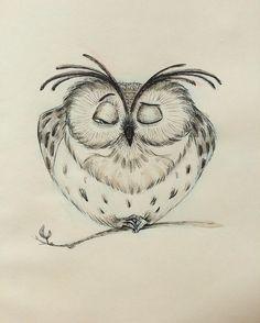 Wake up sleepy! Wake up sleepy! Bird Drawings, Cartoon Drawings, Cute Drawings, Animal Drawings, Pencil Drawings, Cute Owl Drawing, Owl Art, Bird Art, Vogel Illustration