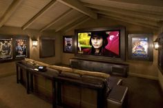 Contemporary Media Room - rustic - Home Theater - Los Angeles Bonus Room Design, Media Room Design, Home Design, Home Theater Design, Attic Design, Design Ideas, Design Inspiration, Home Theater Rooms, Cinema Room