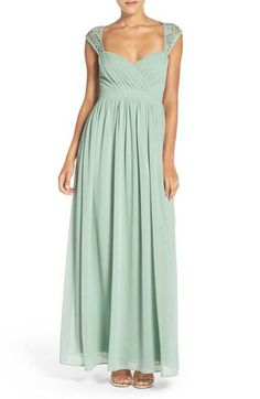 Lulu's Lace Shoulder Sleeveless Chiffon Gown