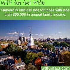 Harvard is now free for those with a family income below $65,000 -  WTF fun facts