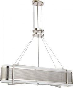 kitchen island light. Lighting Emporium in SPRINGDALE, Arkansas, United States, Nuvo 60/4445, Diesel - 4 Light Island Pendant w/ Slate Gray Fabric Shades, Diesel, Chrome - Polished Nickel ($440)