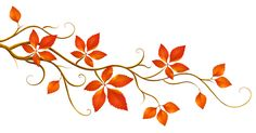 Decorative Branch with Autumn Leaves PNG Clipart