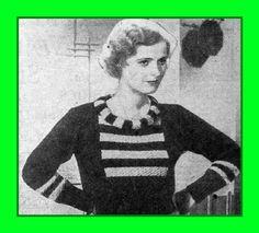 1930s knitting pattern Rolled collar jumper from 1933 women's magazine #AustralianWomensWeeklymagazineJune1933