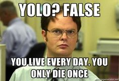 yolo false you live every day -- except reincarnation