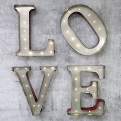 Vintage LED Wall Art 'LOVE' Letters at lisaangel.co.uk