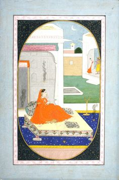 Folio from a Bihari Lal Sat Sai: In a palace bedchamber Radha awaits Krishna as he converses with her maidservant. Kangra, circa 1840.  From the collection of Peter Blohm.