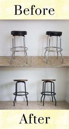 Outdated to Industrial Barstool Makeover DIY. Love this upcycle of old barstools with a rustic wooden seat refinish. Great idea for kitchen or dinette.