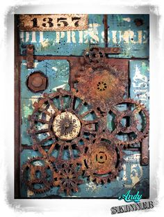 Kind of a mixed media/steampunk fusion Journal cover, not sure if it works but was fun to do! wink emoticon