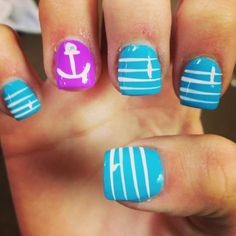 Anchor nails :) I would do this with navy and white or red