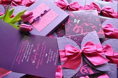 Purple and Fuchsia Bow and Butterfly by InvitatiiCouture on Etsy