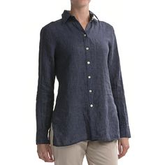 Paperwhite Linen Tunic Shirt - Long Sleeve (For Women) in Indigo
