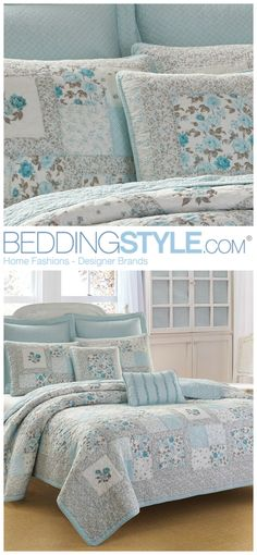 Laura Ashley Everly Quilt. #BeddingStyle #LauraAshley #floral #bedding #bedroom