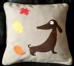 """Just finished my latest cushion cover """"Jolly Sausage Dog"""""""
