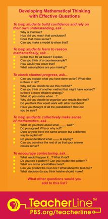 Here are two posters from PBS that describe ways to encourage mathematical thinking with effective questions. For Kate Math Teacher, Math Classroom, Teaching Math, Math Coach, Math Talk, Math Poster, Math Questions, Math Intervention, Math Practices