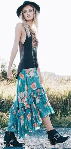 Gypsy Witch Tee + Boho Maxi Skirt                                                                             Source