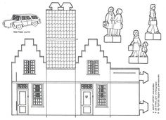 KleuterDigitaal - wb bouwplaat huis 02 Cardboard Paper, Paper Toys, Papercraft Anime, Paper Art, Paper Crafts, House Template, Putz Houses, Mini Houses, Paper Houses