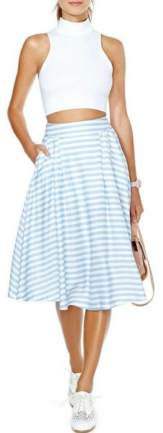 Set Sail Midi Skirt Not crazy about the top (hate it)!  The skirt would be awesome in a darker color and the stripes need to be vertical, not horizontal; better would be a solid color or a nautical print.
