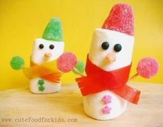 Recetas divertidas: muñeco de nieve hecho con malvaviscos   Recetas para niños