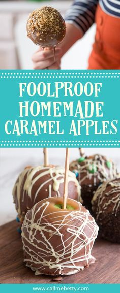 These homemade caramel apples feature a tasty from-scratch caramel recipe, lots of tips for success in apple decorating and apple dipping, as well as a free printable caramel apple gift tag. This is your go-to post for candy apple making! via @callmebettyblog