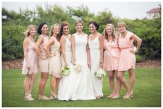 Green and white Alys Beach #wedding | It's a Shore Thing Wedding Planning | Candice K Photography | Events by Nouveau | Confections on the Coast  Honorary bridesmaids.  Peach, pastel, nude, champagne bridesmaids dresses.